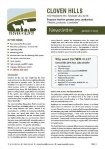 Newsletter – August 2016